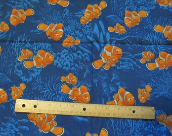 Blue Nemo/ Dorie/Marlin  Cotton Fabric by the Half Yard