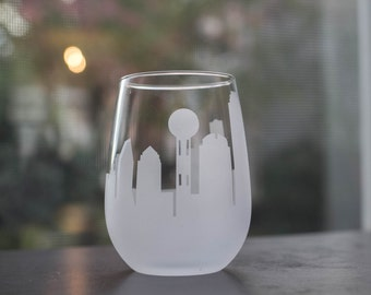 Etched Dallas, Texas Skyline Silhouette Wine Glasses or Stemless Wine Glasses