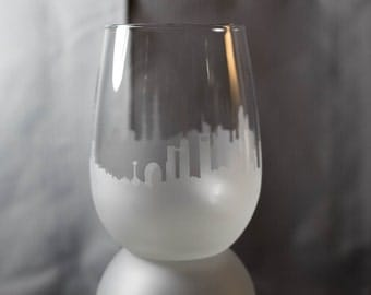 Etched Abu Dhabi (UAE) Skyline Silhouette Wine Glasses or Stemless Wine Glasses