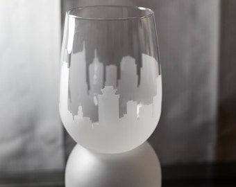 Etched Nashville Tennessee Skyline Silhouette Wine Glasses or Stemless Wine Glasses