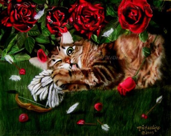 Jealous Cat anti-Valentine painting by Michaeline McDonald