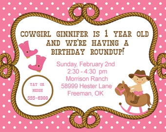 Baby Cowgirl Birthday Party Invitation