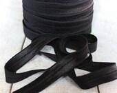 "5/8""  FOE Fold over elastic - Black- 10 yds- 10 yards-Shiny elastic - Solid FOE by the yard - Elastic trim"