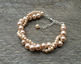Pink Champagne Pearl Bracelet Bridal Bracelet Twisted Clusters on Silver or Gold Chain