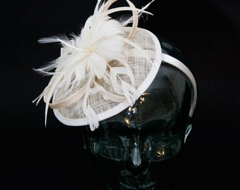 Champagne Sinamay headband fascinator, accented with feathers and flower