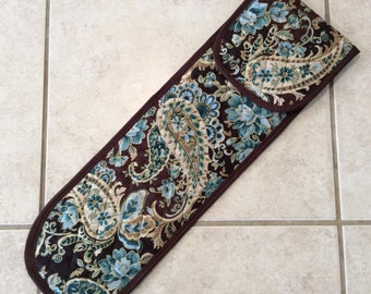 Brown and Turquoise Paisley Curling Iron Travel Case