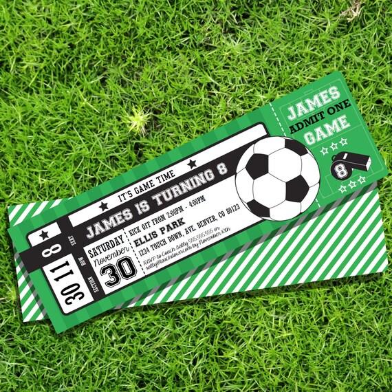 soccer party ticket invitation soccer invitation instant