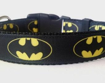 Batman Dog Collar - Adjustable Dog Collar - Superhero Dog Collar