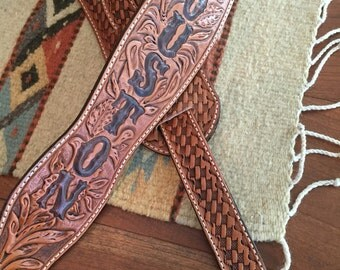 Beautiful Personalized Floral Tooled Hermann Oak Leather Guitar Strap