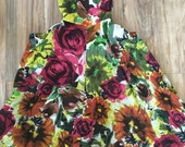 Resered at the moment Womens vintage beautiful floral strapless large pocket tea dress