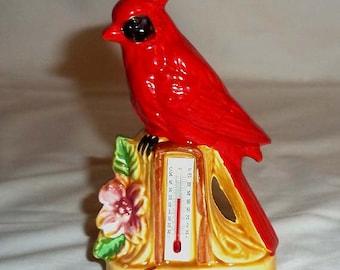 Vintage Handpainted Cardinal Bird Figurine Thermometer Souvenir of Kentucky