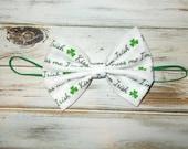 St Paddy's Day Cotton Fabric Bow Skinny Elastic Headband/St Patricks Day Hair Bow Headband/Infant, Toddler, Girls Large Bow Headband or Clip