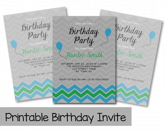 Printable Birthday Invitations, Chevron Birthday Invite, Boy Birthday, Green and Blue Birthday Invite