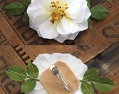 RESERVED - White camellia flower clip with leaves