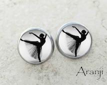 Glass dome ballet earrings, ballet earrings, ballet stud earrings, dance earrings, dancer earrings, ballet jewelry, ballerina earrings