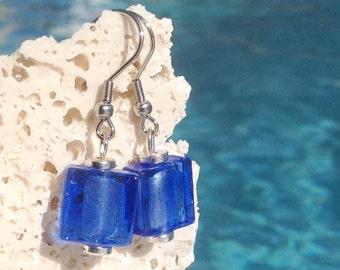 Royal blue square foil glass lampwork earrings Earring#BLU103