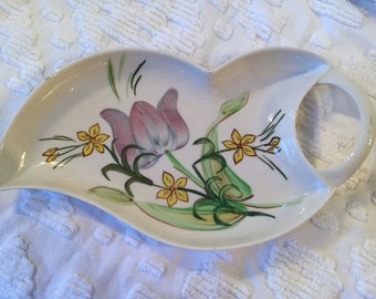 Blue Ridge China Southern Potteries Hand Painted Leaf Shaped Serving Dish * Spoon Rest * Tulip Dish * Decorative Accent Dish *