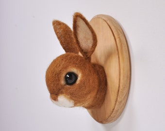 Brown Bunny Rabbit - Faux Taxidermy - Needle Felted Wall Mount