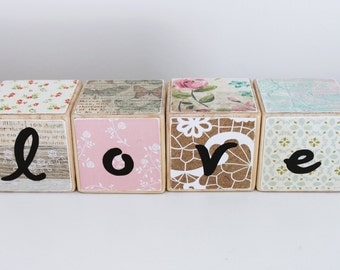 Wooden Blocks // LOVE Blocks // Wedding Decoration // Nursery Decor // Vintage Blocks