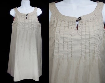 Vintage 70's ANDREA GAYLE Beige Sleeveless Dress M