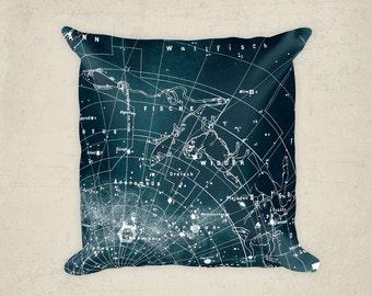 Zodiac Pillow Constellation, Home Decor Pillow, Teal Constellation Map Pillow