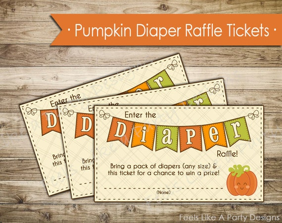 pumpkin diaper raffle tickets instant download