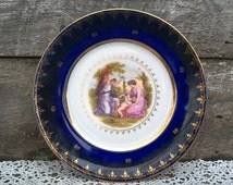 Cobalt Blue Plate, Czechoslovakia, Karlsbad Gilded Plate, Elegant Feminine, Two Ladies and a Baby, Bone China, Collectors Plate