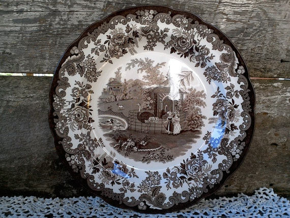 "SPODE Archive ""OSTRICH HOUSE"", 10 1/2"", Dinner Plate, Brown Transferware, English Transferware, Zoo Animals, Wall Decor, Country"