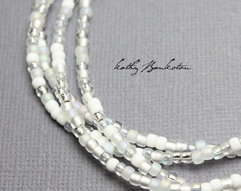 Winter White Seed Bead Necklace, Long White Necklace, White Layering Necklaces, White Seed Bead Necklaces, White Necklaces, Kathy Bankston