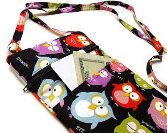 Owl Print Purse-HandyHandbagz-Fabric iPod case- Crossbody electronics Handbag - Cotton iPhone case - Cellphone case owl print