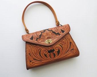 70s Tooled Southwestern Handbag Clutch with Handle