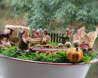 Complete Fairy Garden Kit With Container, Fall Autumn Theme, Handmade  Items, Unique.