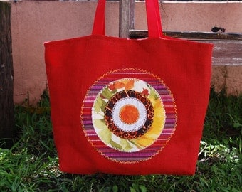 red tote HAND BAG with embroidered MANDALA