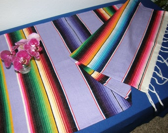 Mexican Serape Cloth Table Runner or Table Cloth - Lavender / Light Purple / Lilac - Mexican Blanket Cloth, Mexican Fabric
