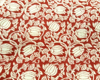 Lotus Flower Screen Print Indian Cotton Fabric Sold by Yard