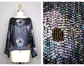 Heavily Sequined Dolman Sleeve Top / Dark Gray Pastel Floral Sequin Beaded Trophy Blouse