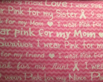 FLANNEL - Pink Ribbons on White Breast Cancer Awareness Flannel - Pink Ribbons on White Breast Cancer Awareness Fabric
