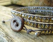 Handmade wrap bracelet with moss green fire polished czech glass faceted beads