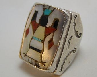 Vintage Zuni Old Pawn Sterling Silver and Inlaid Kachina Apache Gahn Spirit Dancer Ring Hefty 30.2 grams!