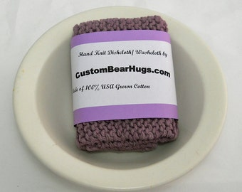 Hand Knit Large Cotton Washcloth, Knit Cotton Dishcloth in Lilac Purple,  Mix and Match to Make Custom Set, Housewarming Gift, Shower Gift
