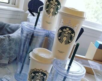 Starbucks Reusable Hot Cup w/ lid. Simple designs.