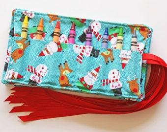 Crayon Rolls, Christmas, Snowman, Reindeer, Santa Clause, Set of 7, Party Favor, Stocking Stuffer