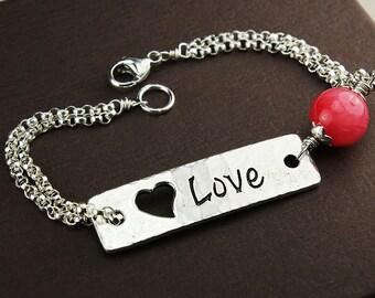 Love, love bracelet, pink bracelet, pink jewelry, love jewelry, heart bracelet, heart jewelry, silver love bracelet, silver heart jewelry