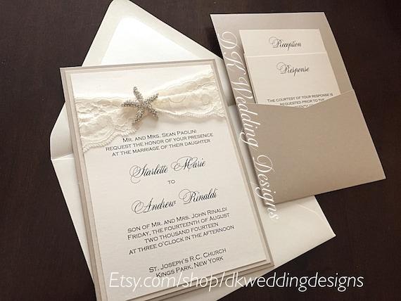 Starfish Wedding Invitation Kit: Starfish Pocket Wedding Invitation Beach Wedding Invite