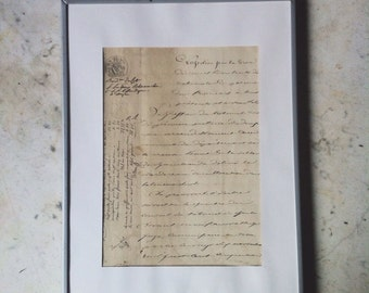 Antique french document, gorgeous handwriting with ink & embossed stamps from Papeterie de Paris