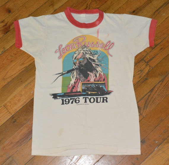 1976 leon russell vintage tshirt concert tour by for Banded bottom shirts canada