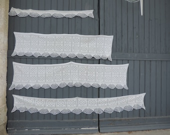 A beautiful set of four, hand made, vintage french, crochetted lace, chimney valences and cafe curtains