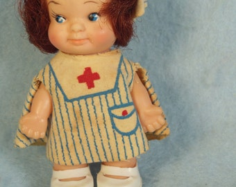 "Vintage-1960s-70s-Doll-With Red Cross Outfit-3 3/4"" Tall"