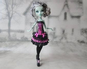 Black and pink corset lace dress and leg warmers hand made fits Monster High doll