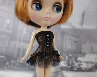 Gothic burlesque black and dark brown corset hand made fits Blythe doll